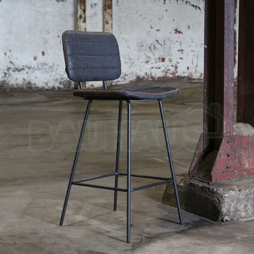 Industrieller Barhocker Stripe Anthrazit Leder