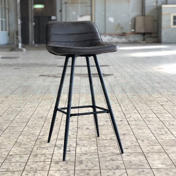 Barhocker Jackson Leder Industrial Design anthrazit