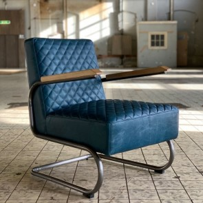 Sessel Miley Echtleder vintage blau Industriedesign